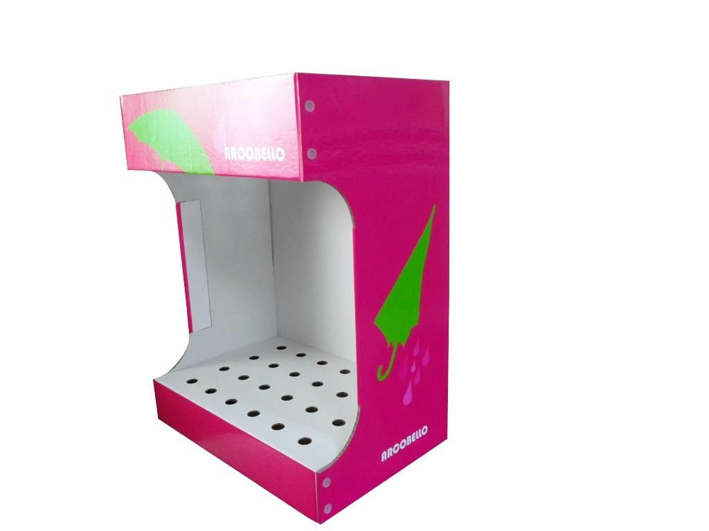 umbrella retail cardboard display stand with holes