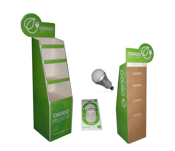 LED light promotion retail cardboard floor display shelf for
