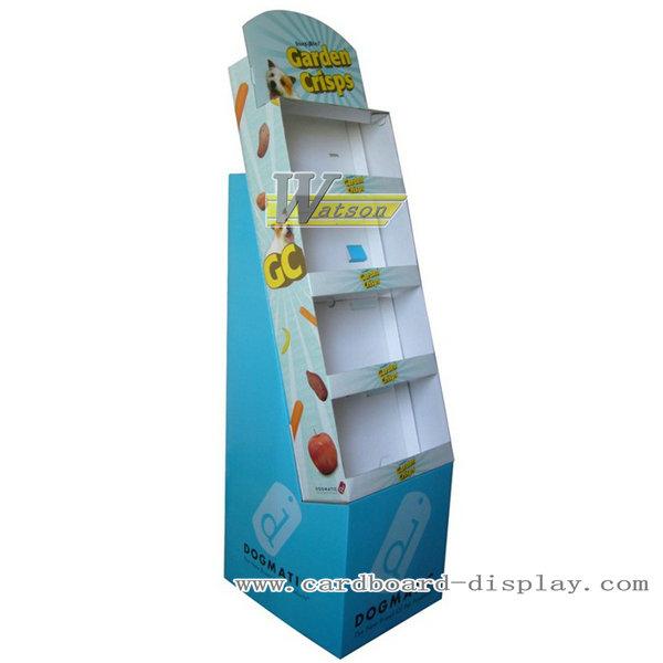 Cardboard floor display with tiers for snacks