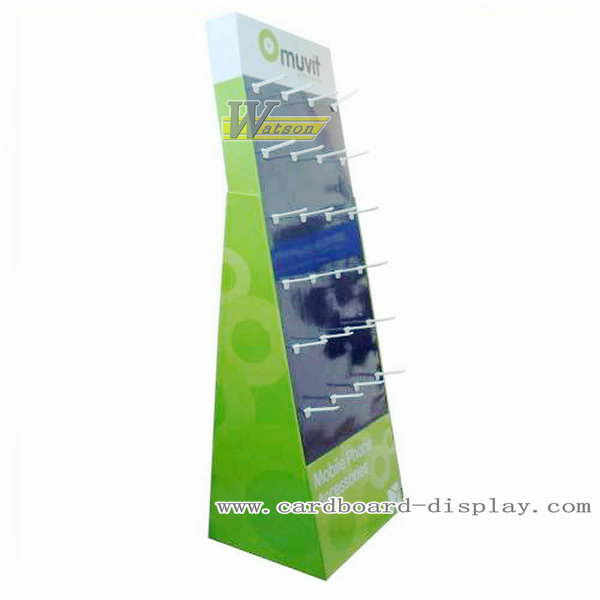 Cardboard hook floor display stand for electronic products
