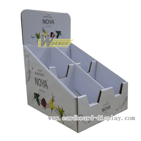 Corrugated paper counter top display for lip balm