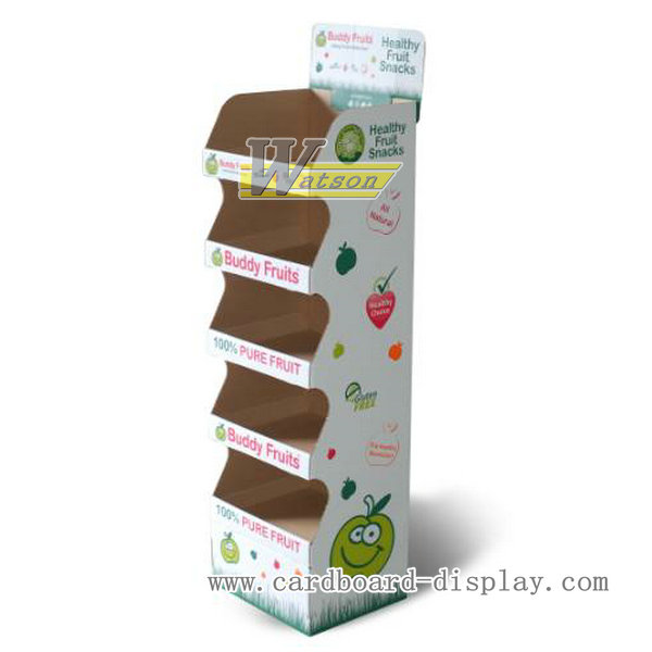 Corrugated paper fruit candy floor display stand with tiers