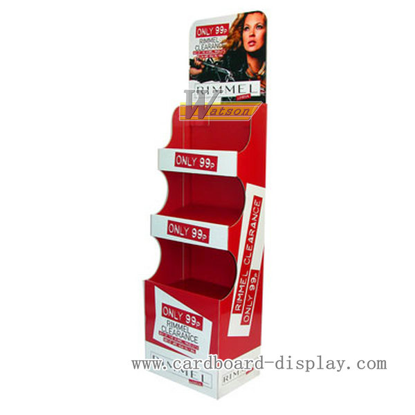 Cardboard tiers floor display stand for hair color products