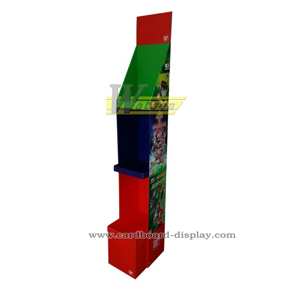 Cardboard tier display with movable PDQ for toys and model