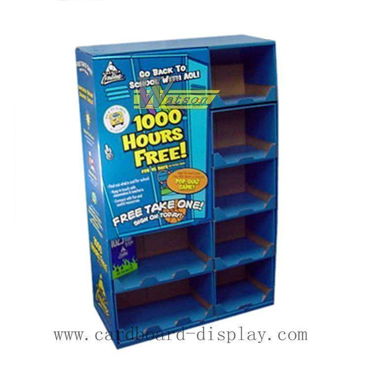 Corrugated cardboard compartment shelf display stand