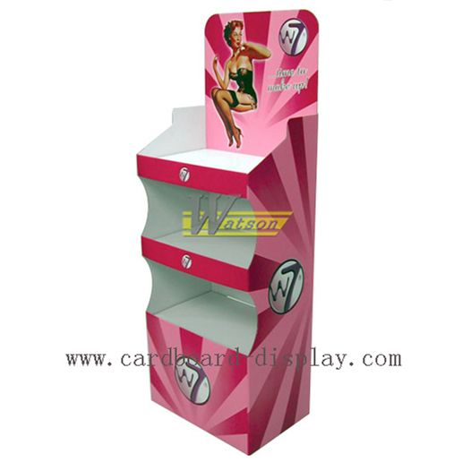 Floor Advertising Cardboard Tray Display Stand For Enchanting Cosmetic Retail Display Stands
